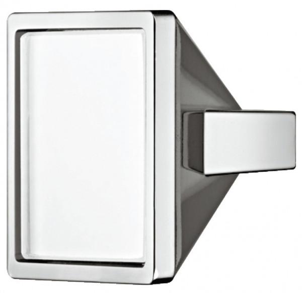 Häfele Möbelknopf H2054 Schrankknopf eckig chrom poliert/Glas weiß