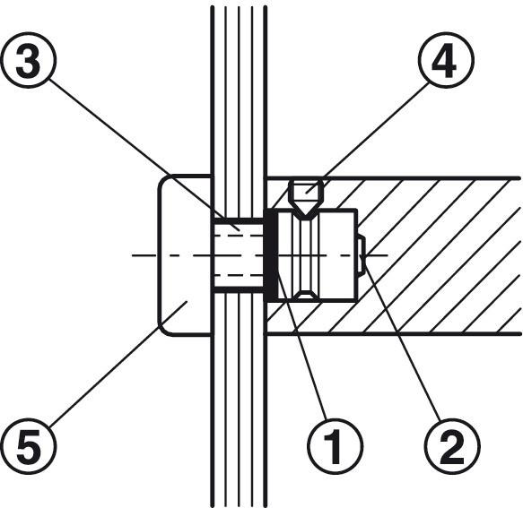 Häfele Montageset Glas für einseitige oder paarweise Befestigung gerade Stützen für Türgriffe Modell