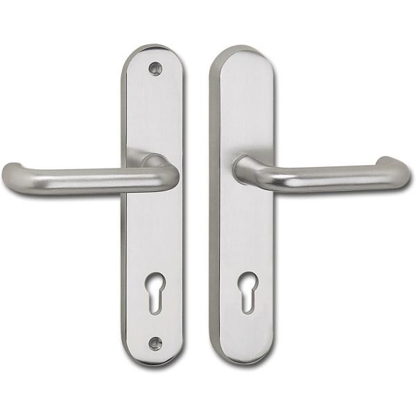 JUVA Sicherheitsgarnitur Ö-NORM PZ 88 Schutzbeschlag Drücker/Drücker Aluminium silber eloxiert