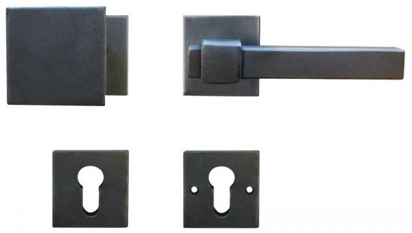 Galbusera Sicherheitsgarnitur LINZ Türdrücker auf Rosette antik schwarz verzinkt