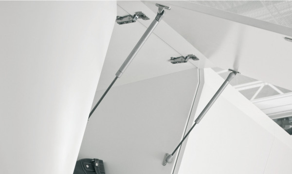 Häfele Klappen-/Deckelstütze H3900 Gasdruckfeder selbstöffnend für Klappen und Deckel aus Holz oder